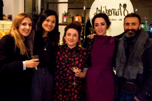 L to R: Sarah & Rhoda of P.I.C. Style, Sophie of Gung-Ho Designs, Nina of War & Drobe, Kenny of Poli & Jo - all designers at the Shoreditch Pop Up Shop || Tuesday Reviews Day 20-12-2016 || raeritchie.com