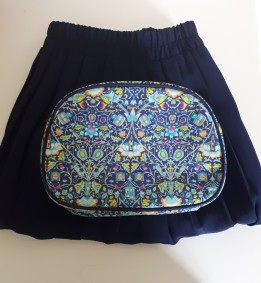 Charity shop skirt & the washbag that doubled as a clutch bag